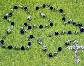 Baseball Rosaries - Czech Silver and Blue or Med Blue & Red Glass Beads - Ceramic Baseballs - Mary and Child Centers - Italian Crucifixes