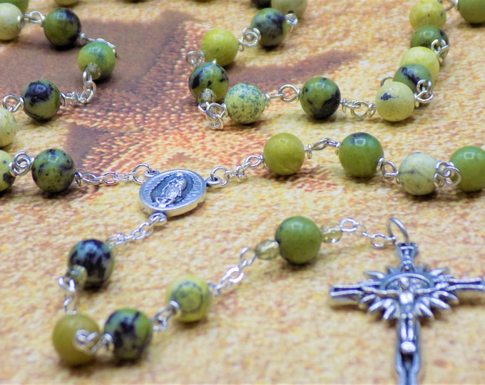 Yellow Turquoise & Serpentine Rosary - Yellow Turquoise and Serpentine Gemstone Beads - Italian Guadalupe Center - Italian Sunburst Crucifix