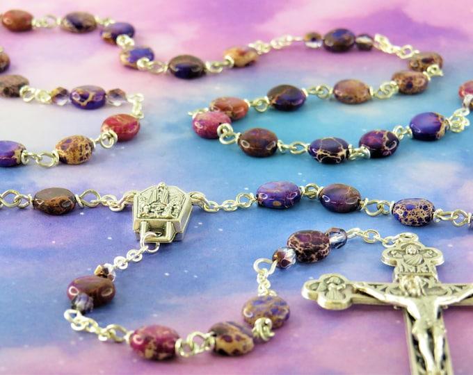 Purple Sea Jasper Rosary - Apatite Purple Sea Sediment Imperial Jasper Gemstone Beads - Fatima with Water Center - Ital Eucharistic Crucifix