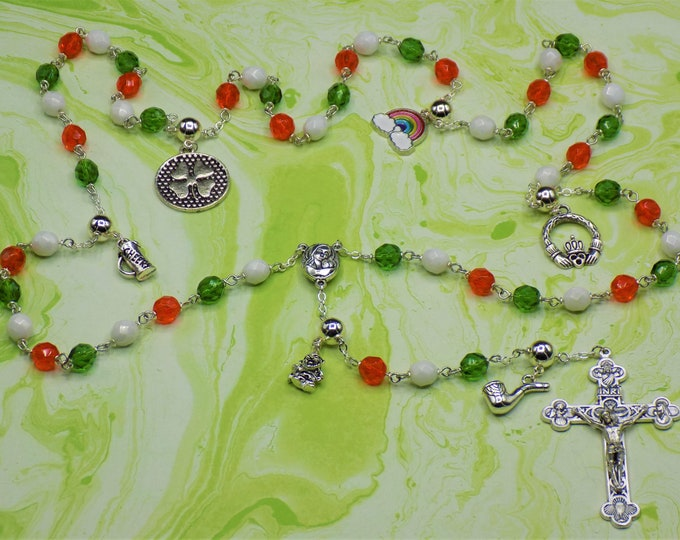 Rosary of Ireland - Czech Green,White & Org Glass Beads - Round Pewter Father Beads - Irish Charms - Mary with Soil Center -Italian Crucifix