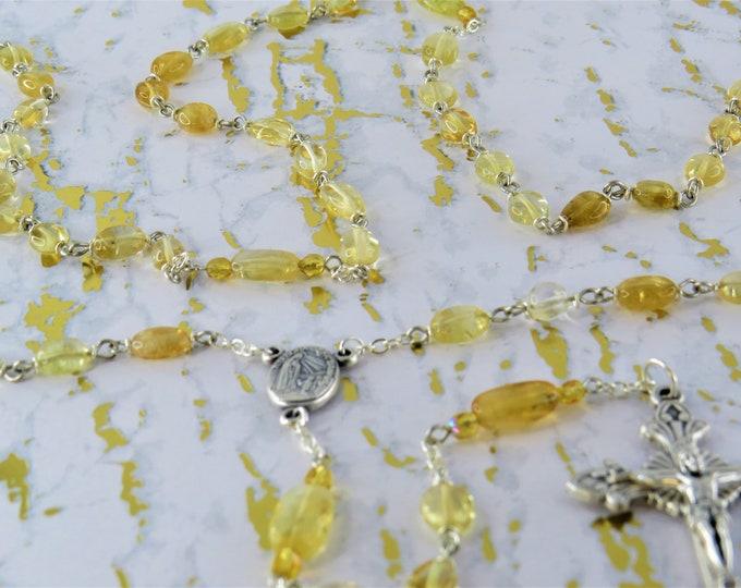 Citrine Rosary - Semi Precious Citrine Oval Beads - Czech Yellow Accent Beads - Italian Fatima Center with Earth - Italian Filigree Crucifix
