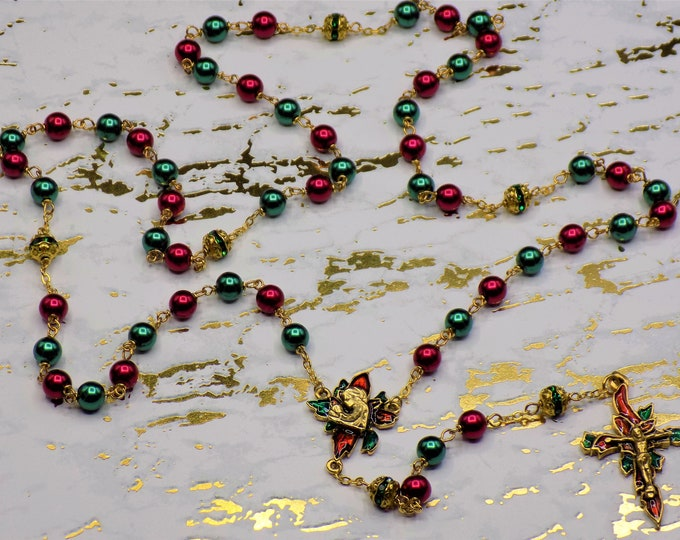 Christmas Poinsettia Rosary-Red and Green Glass Pearl Beads-Green Rhinestone Beads-Gold Plated Pewter Christmas Poinsettia Center & Crucifix