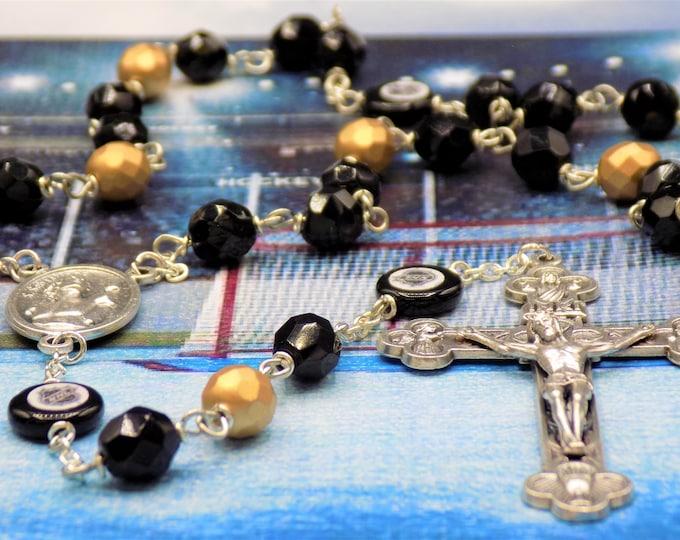 Hockey Rosaries - Czech 8mm Black and Gold -or- Blue & Red Glass Beads - Czech Hockey Pucks - St Sebastian Center - Italian Silver Crucifix