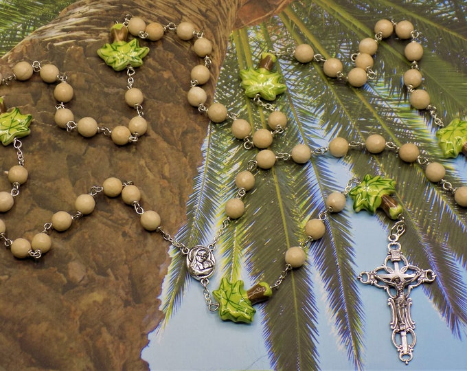 Palm Tree & Natural Petrified Wood Rosary - Petrified Wood Beads - Porcelain Palm Tree Beads - Mary Earth Center - Italian Filigree Crucifix