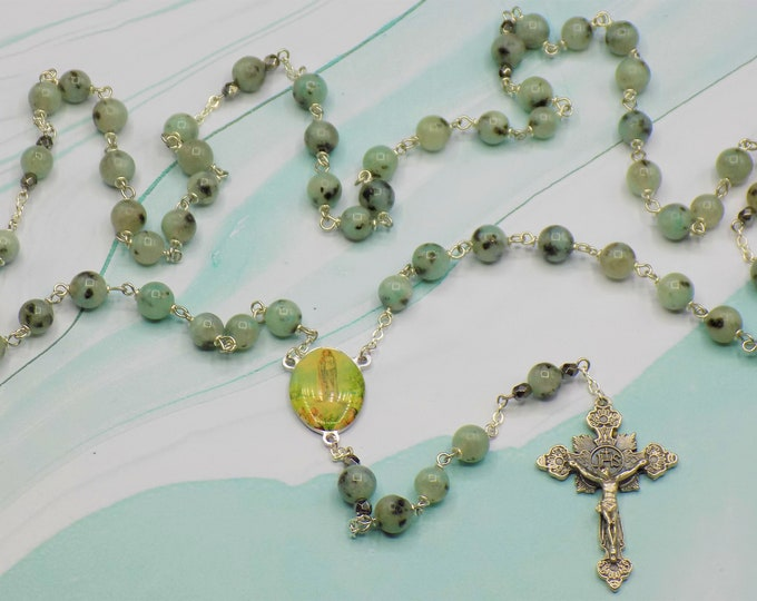 Kiwi Sesame Jasper Rosary - Semi Precious Kiwi Sesame Jasper 8mm Beads - Our Lady of Fatima, Portugal Center - Italian Silver Crucifix