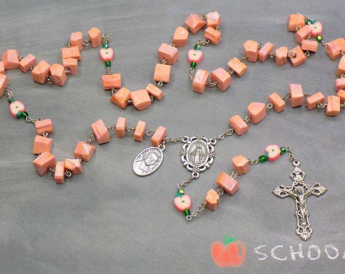 Teacher Rosary - Vintage Lucite Pink Coral Nugget Beads - Polymer Clay Pink Apple Beads -Immaculate Heart of Mary Center - Filigree Crucifix