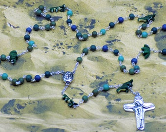 Dinosaur Rosary - Textured Green & Blue Glass Beads - Peru Ceramic Dinosaur Beads - Mary With Earth Center - Italian Jesus and Mary Crucifix