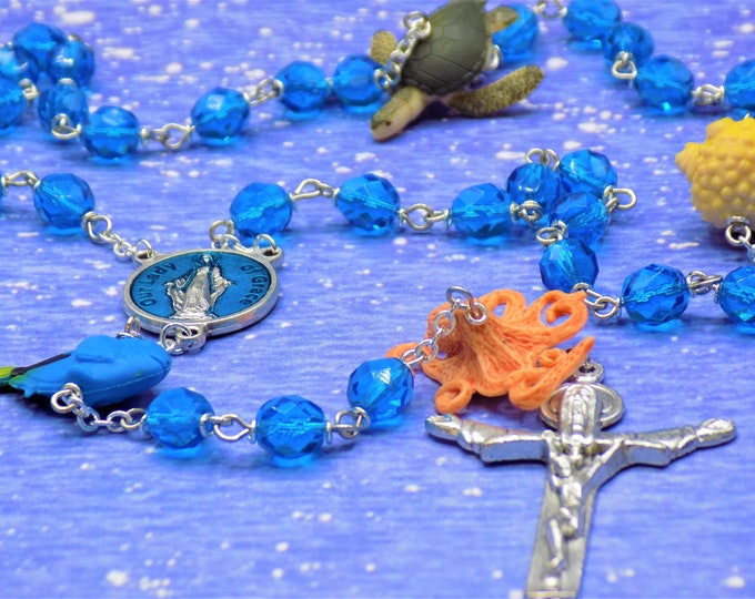 Under the Sea Rosary - Czech Aqua Blue Crystal Beads - Rubber Fish Beads -Italian Lady of Grace Center -Italian Silver Holy Trinity Crucifix