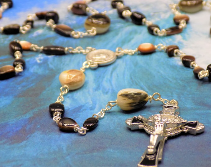 Black & Brown Lip Seashell Rosary - Black and Brown Lip Seashell Beads - Italian Pope John Paul II Center- Italian Black Enamel Crucifix