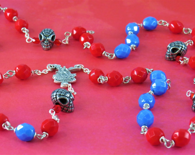 Spider-Man Rosary - Czech Red and Blue Opaque 8mm Crystal Beads  - 3D Spider-Man Father Beads - St Michael Center - St Benedict Red Crucifix