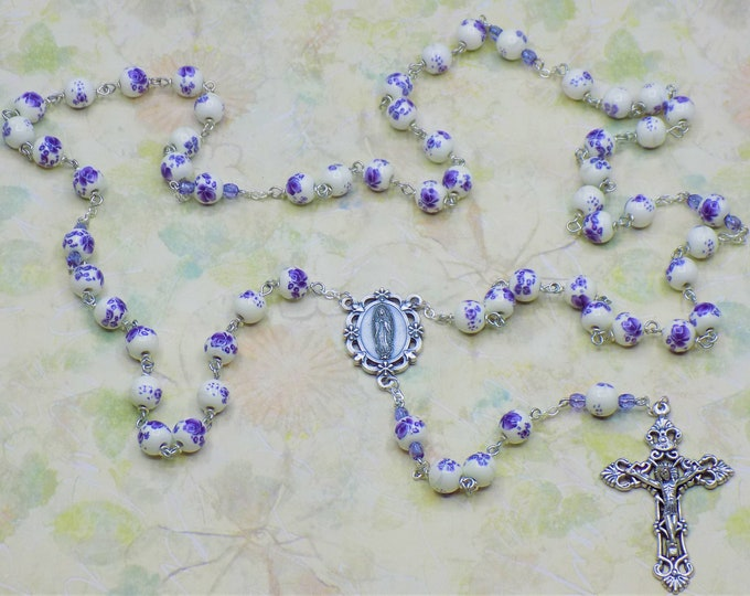 White & Purple Flower Rosary - White and Purple Flower Ceramic Beads -Italian Our Lady of Guadalupe Center -Italian Silver Filigree Crucifix