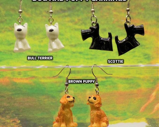 Dog 3D Earrings - Bull Terrier Dogs - Scottie Dogs - Bull Terrier Dogs - Brown Dogs - 3 Different Styles to Choose From