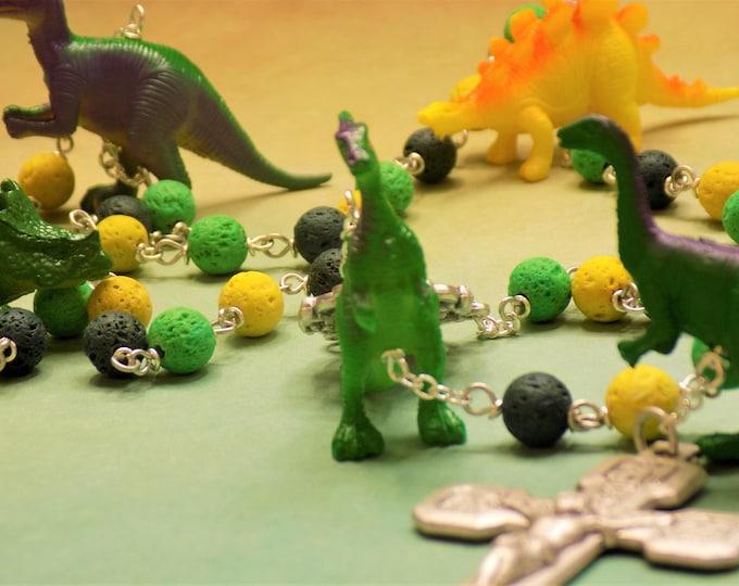 Dinosaur Rosary - Green, Yellow & Dark Green Lava Gemstone Beads - Textured Dinosaur Beads - Lourdes Center- Italian Stations Cross Crucifix