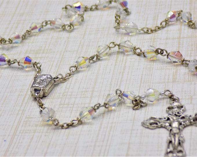Czech AB Crystal Rosary - Czech AB Crystal 6mm Diamond Cut Beads - Italian Center Contains Water from Lourdes - Italian Filigree Crucifix