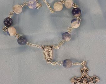 One Decade & Car Rosaries - Sodalite - Red Agate - Amber Cathedral - Iced Gold Glass - Iced Peach Glass - Italian Centers and Crucifixes