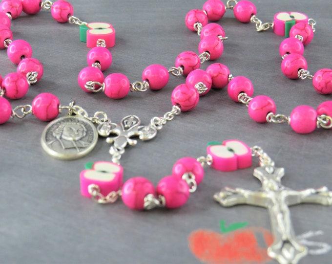Teacher Rosary - Pink Howlite Gemstone Beads - Polymer Clay Apple Beads - Italian Center - Italian Crucifix -St John Baptist DL Salle Medals
