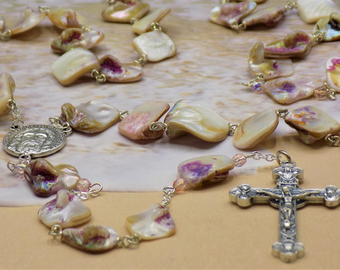 Mother of Pearl Rosary - Natural Mother of Pearl Rose Nugget Beads - Czech Beads -  Italian Holy Face Center - Italian Eucharistic Crucifix