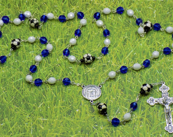 Blue and White Soccer Rosary - Czech Blue & White Glass Beads - Ceramic Soccer Balls -Italian Holy Face Center -Italian Eucharistic Crucifix