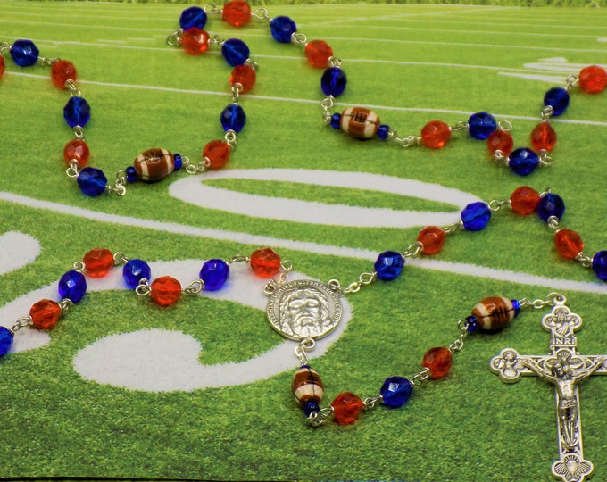 Football Rosary - Czech Orange & Blue Crystal Beads - Ceramic Footballs - Italian Holy Shroud of Turin Center - Italian Eucharistic Crucifix