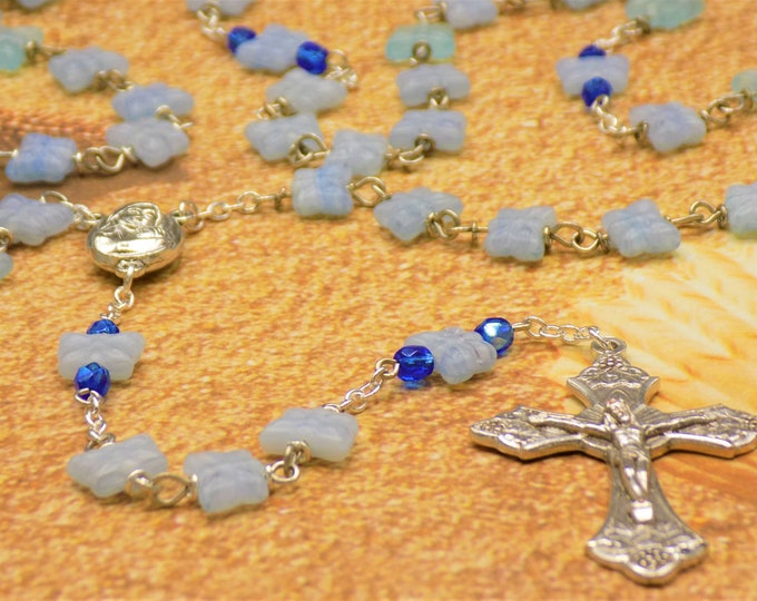 Light Blue Butterfly Rosary - Czech Light Blue Crystal Butterfly Beads -Mary Center with Earth from Jerusalem-Italian Grapes & Vine Crucifix