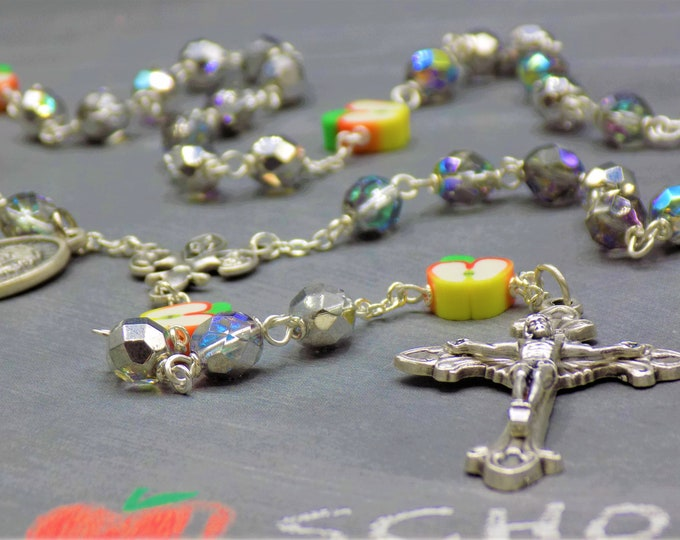 Teacher Rosary - Czech Clear & Silver Crystal Beads - Apple Beads - Fleur-de-Lis Fiat Center - Sunburst Crucifix - St John De La Salle Medal
