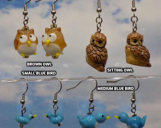 Owl and Blue Bird Earrings - Owl Lampglass Charms - Owl Resin Charms - Blue Bird Glass Charms (14 or 20mm Sizes)