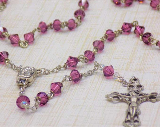 Czech Amethyst Rosary - Czech Amethyst 6mm Diamond Cut Beads - Italian Silver Center Contains Water from Lourdes - Italian Filigree Crucifix