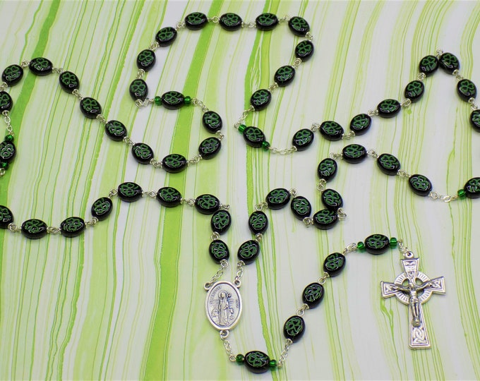 Shamrock Rosary - Czech Black and Green Shamrock Glass Beads - Italian Silver St Patrick & St Bridget Center -Italian Silver Celtic Crucifix