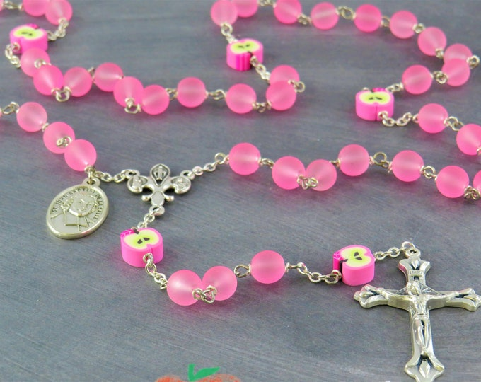 Teacher Rosary - Pink Frosted Glass Beads - Pink Apple Beads - Fleur-de-Lis Fiat Center - Sunburst Crucifix - St John De La Salle Medal