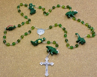 Dinosaur Rosary - Czech 3 Color Green 8mm Beads - Peru Ceramic Dinosaur Beads - Italian Holy Face Center - Italian Eucharistic Crucifix