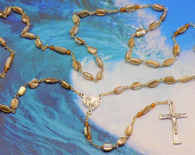 Gold Sea Shell Rosary - Natural Gold Sea Shell Nugget Beads - Czech Gold Crystal Beads - Italian Silver Fatima, Portugal Center & Crucifix