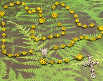 Ladybug Rosary - Czech Opaque Yellow Ladybug Glass Beads - Water from Lourdes & Fatima Center - Italian Silver Crucifix