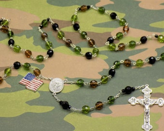 US Military Camouflage Rosary - Czech Olive, Dk Olive, Dk Smoke Topaz & Black Crystal Beads - St Michael Center - US Flag - Italian Crucifix