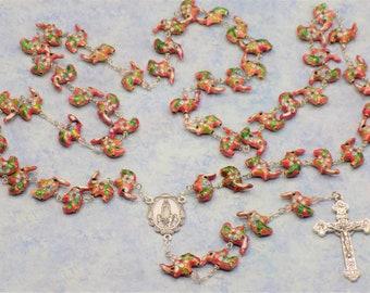 Pink Cloisonné Elephant Rosary - Pink Cloisonné Elephant Beads - Italian Our Lady of Fatima Center - Italian Eucharistic Crucifix