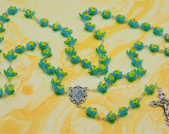 Glass Flower Rosary - Lampwork Glass Blue with Yellow & Orange Flowers-Green Leafs Beads - Italian Lourdes Center -Italian Filigree Crucifix