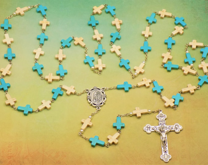 Stone Cross Rosary - Turquoise & White Color Stone Cross Beads - Italian Our Lady of Lourdes Center - Italian Silver Eucharistic Crucifix