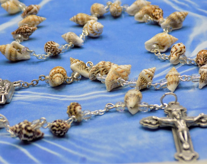 Sea Shell Rosary - Natural Conch Sea Shell Beads - Czech Beads - Italian Water from Fatima, Portugal Center - Italian Silver Heart Crucifix