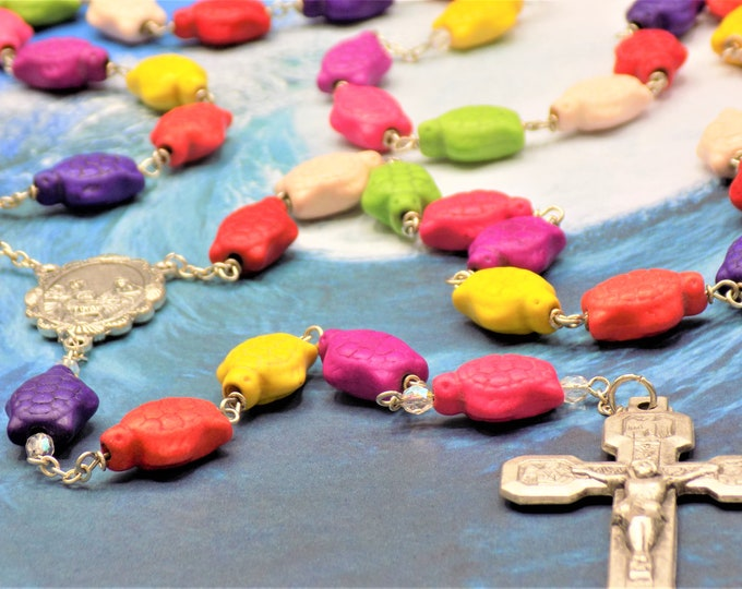 Multi Color Stone Turtle Rosary - Multi Color Stone Turtle Beads - Italian Silver Holy Family Center -Italian Stations of the Cross Crucifix