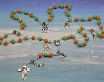 Expecting Mother's Rosary - Czech Pink and Turq Blue Beads - Baby Charms - Mary & Child Center with Earth from Jerusalem - Italian Crucifix