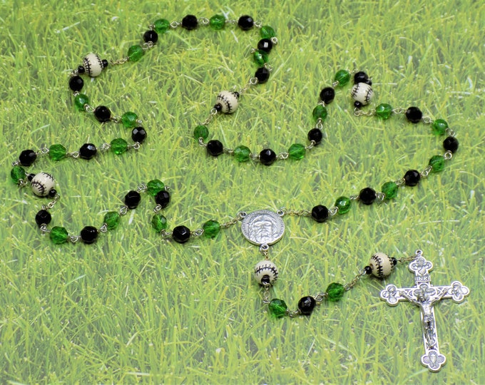 Black and Green Baseball Rosary - Czech Black and Green Glass Beads - Ceramic Baseballs - Itl Holy Face Center -Italian Eucharistic Crucifix