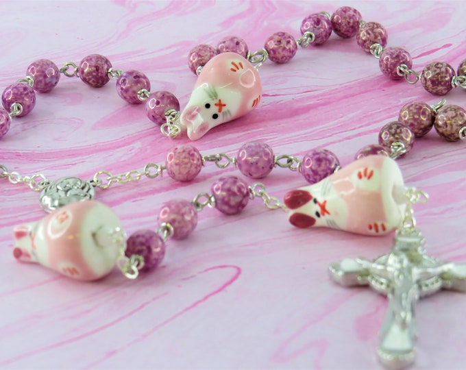 Easter Bunny Purple Rosary - Purple Luster Glass Beads - Ceramic Bunny Father Beads - Mary Center with Earth - St Benedict Enamel Crucifix