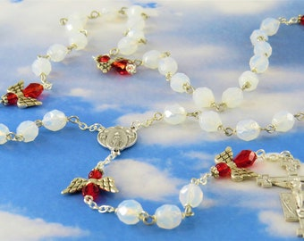 Crystal Angel Rosary - Czech Opal Crystal Beads - Czech Red Crystal Angel Beads - Italian Mary and Angels Center - Italian Angel Crucifix