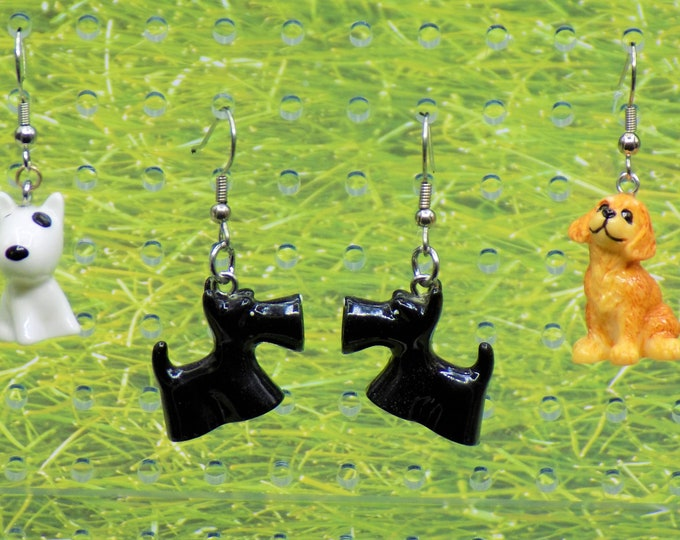 Dog 3D Earrings - Bull Terrier Dogs - Scottie Dogs - Bull Terrier Dogs - Brown Dogs - 3 Different Styles to Choose From