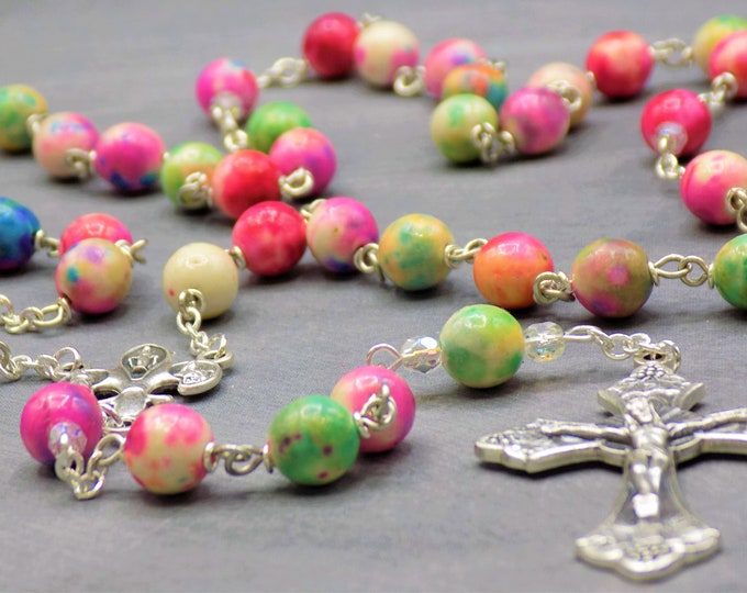 Multi Color Porcelian Rosary - Multi Color Porcelain Beads - AB Father Beads - Fleur-de-Lis Fiat Center - Italian Grapes and Vine Crucifix