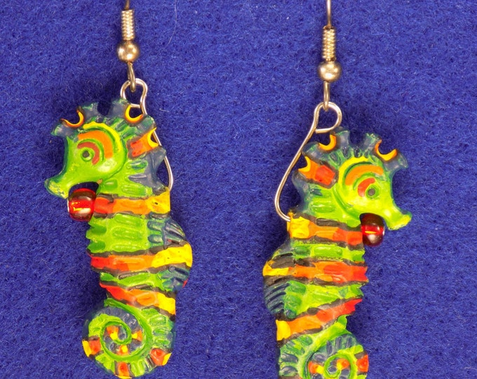Seahorse Earrings - Green, Red and Yellow Seahorses - Green Seahorses