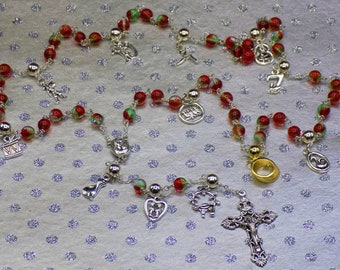 12 Days of Christmas Rosary - Czech Red and Green Glass 8mm Beads -Silver and Gold 12 Days Christmas Charms - Mary Center -Filigree Crucifix