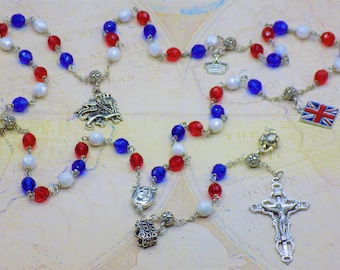 Rosary of Great Britain - Czech Blue, White & Red Glass Beads - Round Pewter Father Beads - English Charms - Mary with Soil Center -Crucifix