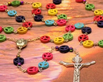 Stone Peace Sign Rosary - Multi Color Stone Peace Sign Beads - Mary & Child Center with Soil from Jerusalem -Italian Silver Trinity Crucifix