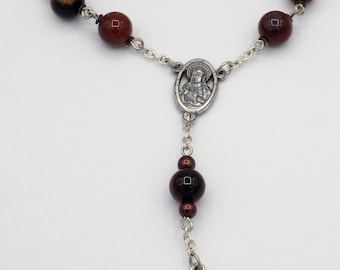 One Decade & Car Rosaries - Red Agate - Amber Cathedral - Iced Gold Glass - Iced Peach Glass - Italian Centers and Crucifixes