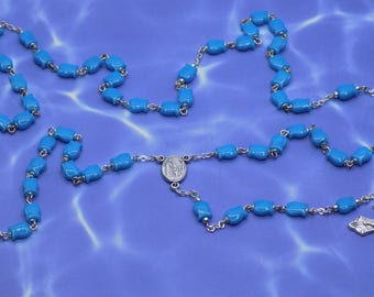 Fish Rosary - New Jade Turquoise Guppy Fish Beads - Silver Metal Beads - Italian Our Lady of Fatima Center - Italian Grapes & Vine Crucifix